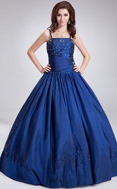 Tanssiaismekot Lattiaa hipova pituus Tafti Quinceanera mekko jossa Helmikoristelu Paljetit (021002868)