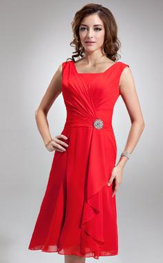 A-linjainen/Prinsessa Square Pääntie Polvipituinen Sifonki Morsiusneitojen mekko jossa Kristallirintakoru Laskeutuva röyhelö (007001893)