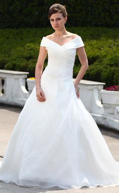 Corte de baile Fuera del hombro Cola corte Organdí Vestido de novia con Volantes Cuentas (002000599)