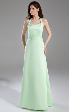 A-linjainen/Prinsessa Niskalenkillä Lattiaa hipova pituus Satiini Morsiusneitojen mekko jossa Rypytys Kristallirintakoru (007001863)