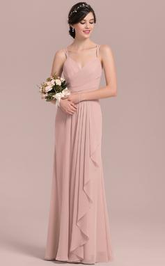 A-linjainen/Prinsessa Kultaseni Lattiaa hipova pituus Sifonki Morsiusneitojen mekko jossa Laskeutuva röyhelö (007126452)