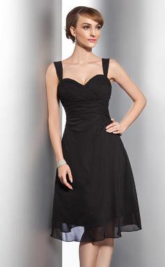 A-linjainen/Prinsessa Kultaseni Polvipituinen Sifonki Morsiusneitojen mekko jossa Rypytys (007014743)