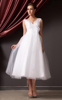 Corte A/Princesa Escote en V Hasta la tibia Organdí Tul Vestido de novia con Encaje Cuentas Flores Lentejuelas (002014240)