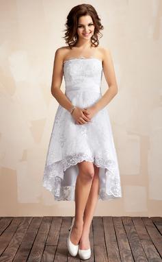 Corte A/Princesa Estrapless Asimétrico Encaje Vestido de novia (002001414)