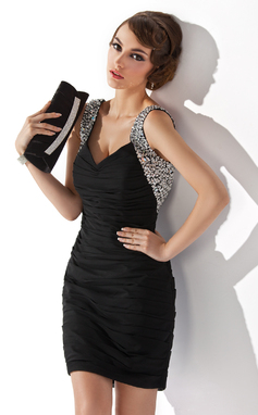 Vestido tubo Escote en V Corto/Mini Gasa Baile de promoción con Volantes Cuentas Lentejuelas (016020949)