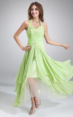 Corte A/Princesa Cabestro Asimétrico Gasa Vestido de festivo con Volantes Cuentas Los appliques Encaje Lentejuelas (020036568)