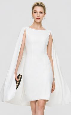 Vestido tubo Escote redondo Hasta la rodilla Crepé Elástico Vestido de novia (002207433)