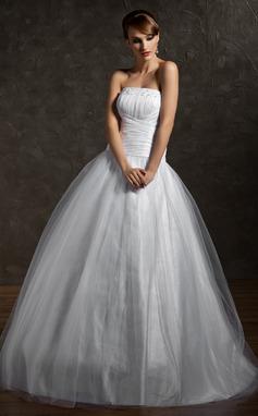 Tanssiaismekot Olkaimeton Lattiaa hipova pituus Tylli Quinceanera mekko jossa Rypytys Helmikuvoinnit (021002869)