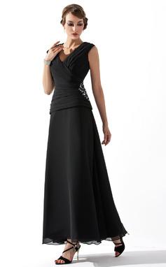 A-linjainen/Prinsessa V-kaula-aukko Nilkka-pituus Sifonki Morsiamen äiti-mekko jossa Rypytys Helmikuvoinnit (008005756)