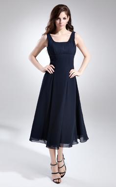 A-linjainen/Prinsessa Square Pääntie Polven alle Sifonki Morsiusneitojen mekko jossa Rypytys (007015675)