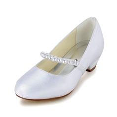 Muchacha Punta Cerrada Satin El talón bajo Salón Zapatos de niña de las flores con Perlas de imitación (207095485)