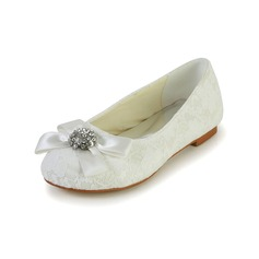 Muchacha Punta Cerrada Spitze Satin Talón plano Planos Zapatos de niña de las flores con Bowknot Rhinestone (207095476)