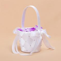 Niza Cesta de flores en Satén con Cintas & Perlas de Imitación (102018046)