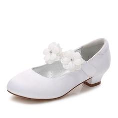 Muchacha Encaje Punta Cerrada Mary Jane Seide wie Satin El talón bajo Zapatos de niña de las flores con Rhinestone Velcro Apliques (207202114)
