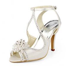 De mujer Satén Tacón stilettos Sandalias con Perlas de imitación (047020190)