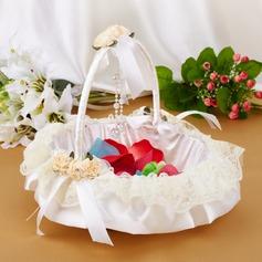 Elegante Cesta de flores en Satén & Encaje con Proa (102018053)