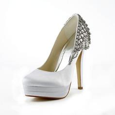 De mujer Satén Tacón Stilettos Cerrados Plataforma Salón con Diamantes de imitación (047017782)