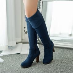 Naisten Keinonahasta Chunky heel Suljettu toe Yli saappaat kengät (088094531)