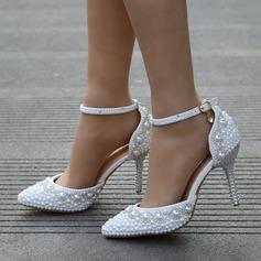 De mujer Cuero Tacón stilettos Cerrados Salón con Perlas de imitación Rhinestone (047149248)