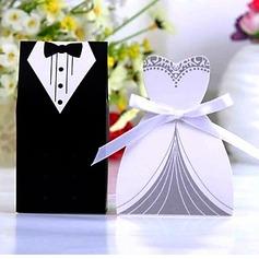 Smoking y del Vestido Cajas de regalos con Cintas (Juego de 6 Pares) (050024303)