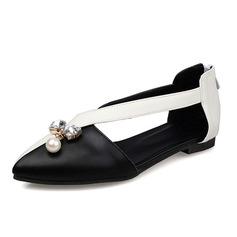 De mujer Cuero Tacón plano Planos Cerrados con Rhinestone Perlas de imitación zapatos (086086201)
