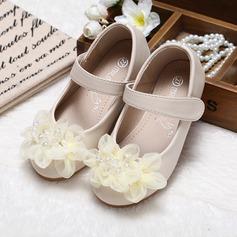Muchacha Punta Cerrada Kunstleder Talón plano Planos Zapatos de niña de las flores con Perlas de imitación Flor (207095551)