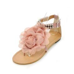 Keinonahasta Matalakorkoiset Heel Sandaalit Matalakorkoiset Peep toe jossa Helmikuvoinnit Solki Kukka kengät (087046316)