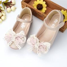 Muchacha Encaje Cuero de Microfibra Talón plano Zapatos de niña de las flores con Cuentas Bowknot Velcro (207137829)